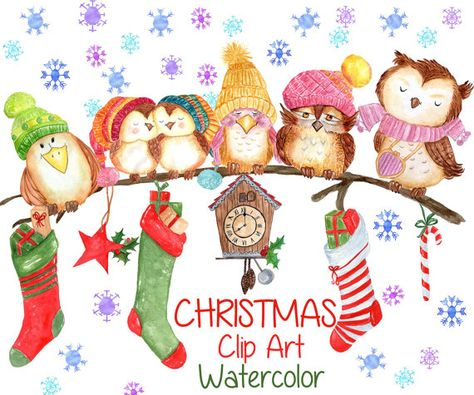 Watercolor Christmas clipart: CHRISTMAS CLIP ART