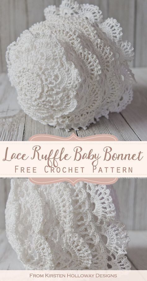 Lace Baby Bonnet Months Free Crochet Pattern This free heirloom quality crochet baby bonnet is so delicate and would make a beautiful baby shower gift! Baby Bonnet Pattern, Crochet Baby Bonnet, Crochet Baby Hat Patterns, Baby Dress Patterns, Baby Clothes Patterns, Baby Girl Crochet, Crochet Baby Clothes, Crochet Hats, Booties Crochet