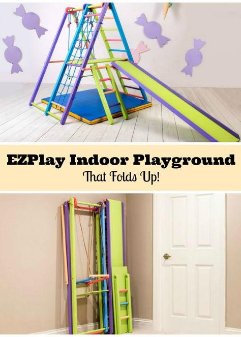 Indoor Playground Kids Will Flip For Indoor jungle gym swing set by EZPlay that folds flat.Indoor jungle gym swing set by EZPlay that folds flat. Indoor Jungle Gym, Toddler Jungle Gym, Jungle Gym Ideas, Toddler Toys, Kids Indoor Playground, Kids Indoor Gym, Indoor Swing Set, Indoor Playroom, Swing Sets