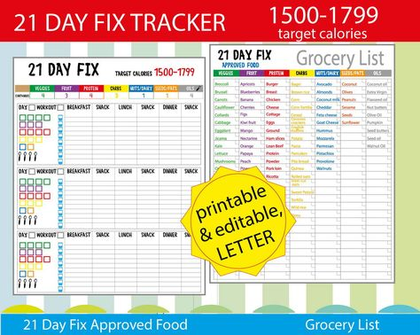 21 day fitness 1500 calories tracker shopping list and more easy to use 21 day