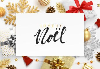 French Text Joyeux Noel Christmas Background Xmas Festive Decoration Objects Re Merry Christmas And Happy New Year Festival Decorations Christmas Background