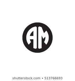 Initial Letters Am Circle Shape Monogram Black Simple Modern Logo