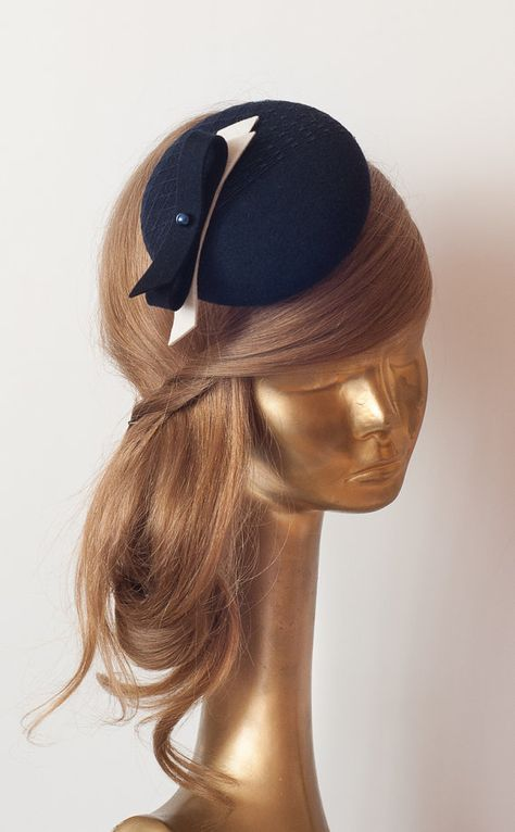 09f7af4ed0053 Unique Modern Dark Navy Blue Felt FASCINATOR. Fascinator for Women ...