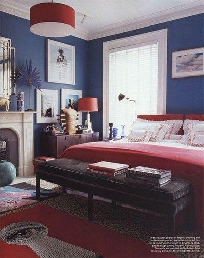 navy bedroom swagger via @elledecor