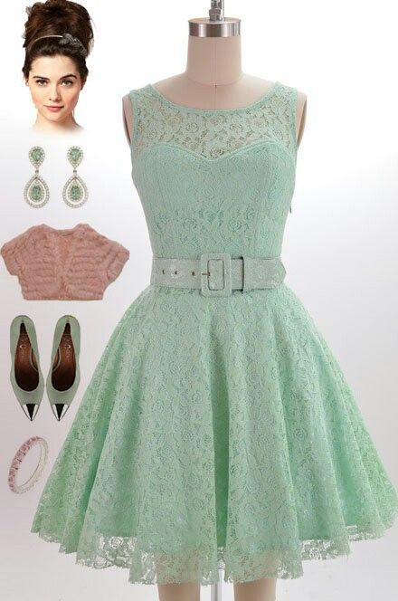 Lace Mint Green Dress And Pink Accessories Pinterest Dresses Style Fashion