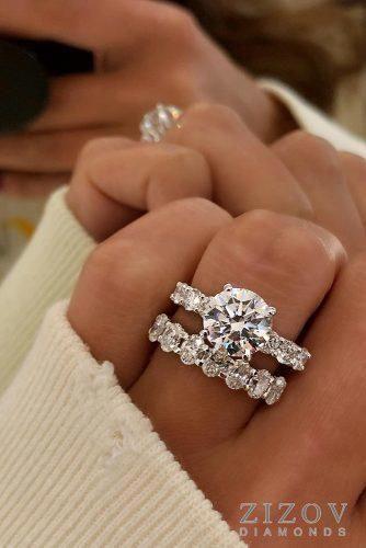 Moissanite Engagement Ring White Gold Ring Rose Engagement Ring