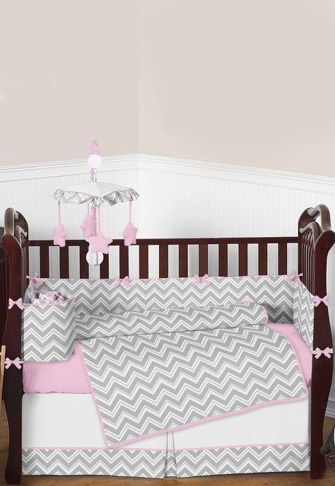 Gray And Pink Zig Zag Chevron Baby Bedding 9 Piece Crib Set Baby
