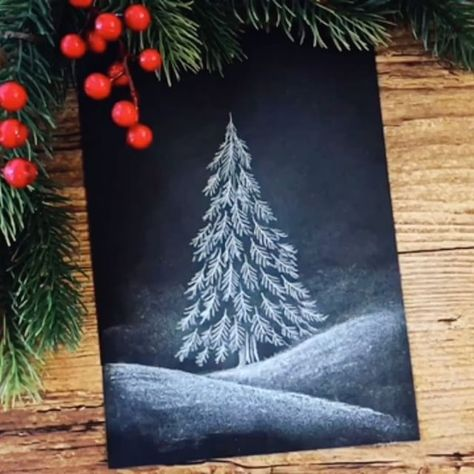 """Lizemijn (Lili) on Instagram: """"Winter wonder Christmas tutorial time on this magical Christmas day! How to draw a pine tree with a chalkboard look on normal black paper.…"""" -   - #Black #Chalkboard #Christmas #Day #draw #Instagram #Lili #Lizemijn #Magical #normal #Paper #pine #time #Tree #Tutorial #Winter #winterdiy #winterdrawings #winterlandscape #winterphotoshoot"""