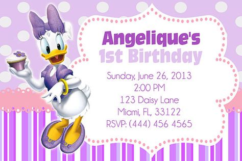Daisy Duck Printable Invitation by MariusDesigns on Etsy Party