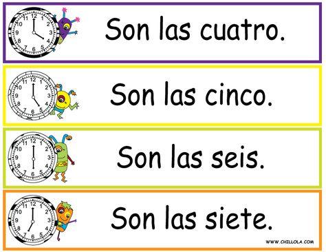 FREE ~ Spanish Printouts for Children ~ Worksheet Time ~ Time in Spanish ~ Available in Spanish, French, German, Italian and English. Visit www.chillola com or follow us: http://pinterest.com/chillolacom/boards/