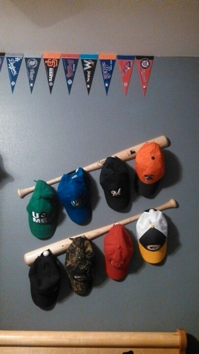 Baseball Hat Rack Using Game Balls By The Created Sign Featured On Remodelaholic