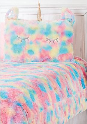 Unicorn Rainbow Faux Fur Comforter Set Twin Size Great Idea For