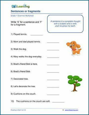 Grade 1 Grammar Worksheets K5 Learning Grammar Worksheets 1st Grade Worksheets Worksheets