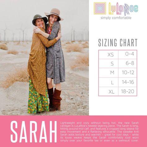 7162829387 LuLaRoe Sarah Cardigan sizing chart