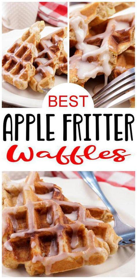 EASY Waffles! Super quick & simple apple fritter waffles. Tasty & delish apple fritter waffles w/ icing - frosting. Best breakfast ideas, snacks or desserts. Waffle maker recipe for BEST waffles. Make homemade waffles w/ waffle iron. DIY from scratch waffles. Make apple fritter waffles that kids & adults love. Check out the best apple fritter waffles today #waffles #breakfast
