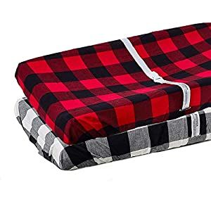 Org Store Premium Buffalo Check Changing Pad Cover Set 100 Cotton Universal Plaid Changing Table Pad Cover 2 Pack Crib Bedding Sets And Baby Bedding In 2020 Changing Table Pad