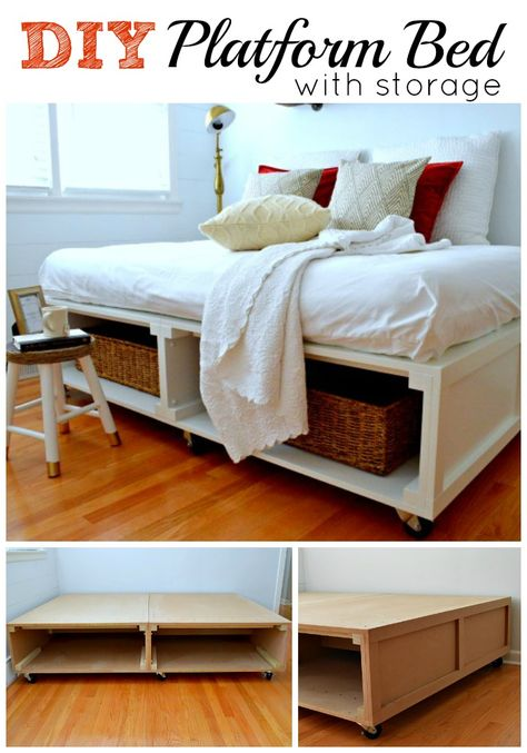 A DIY platform bed with tons of storage and wheels to move it around. www.chatfieldcourt.com