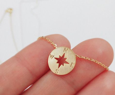 Compass necklace christmas gift best friend necklace Nautical Jewelry tiny necklace (13.00 USD) by ElliesButton