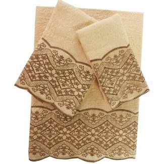 Decorative Bath Towel Sets Daniels Bath Vivian Decorative 3 Piece Towel Set  Esale Rugs