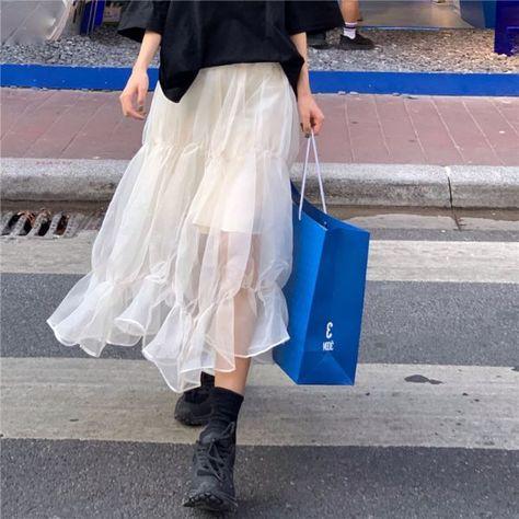 18.72US $ 40% OFF Mesh Skirt 2021 Autumn Winter New High Waist Slim Temperament Mid Length Korean Style Women's Skirt Skirts    - AliExpress