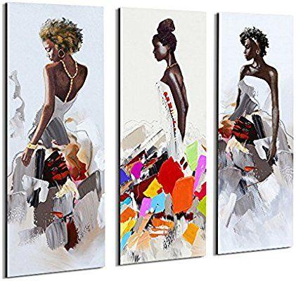 Amazon Com Crescent Art 3 Panels Set Framed African American Black Art Dancing Black Women In D African American Wall Art Wall Art Painting Black Art Painting
