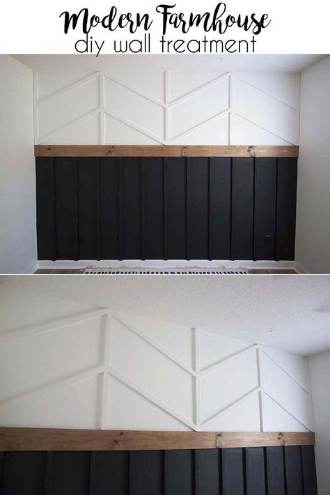DIY Accent Wall - Board and Batten Herrinbone Wainscotting Combo accentwall walltreatment homedecor Home Design, Interior Design, Interior Ideas, Interior Architecture, Design Ideas, Board And Batten, Home Upgrades, Design Case, Wall Treatments