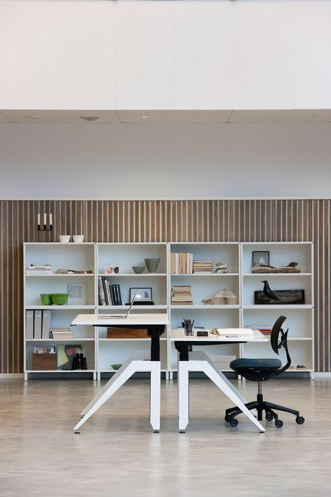 Cabale Standing Office Desk In White Laminate