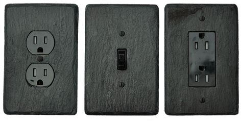 Black Slate Stone Light Switch Covers Outlet Covers Hand Made From Vermont Slate Light Switch Cover With Images Plates On Wall Light Switch Covers Slate Stone