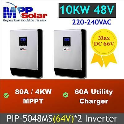 Sponsored 10kw 48v 230vac Solar Inverter 80a 2 Mppt Solar Charger Pip5048ms 2 In Parallel In 2020 Solar Inverter Solar Charger Solar Power Inverter