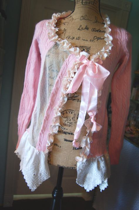 Reserved forJodieHeather Pink Cashmere Sweater Cardigan  Altered Womens Medium Shabby Chic Alternative Free People Style Eco