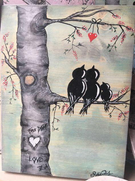 Oiseau acrylique sur support bois