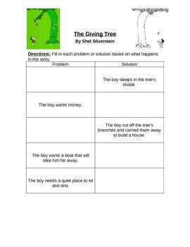 The Giving Tree Cause And Effect Elementary Writing Prompts The Giving Tree Speech Lessons