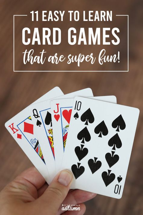 11 Fun + easy cards games for kids and adults! - It's Always Autumn Card Games For One, Family Card Games, Fun Card Games, Party Games, Dice Games, Activity Games, Games To Play, Activities, Grandchildren