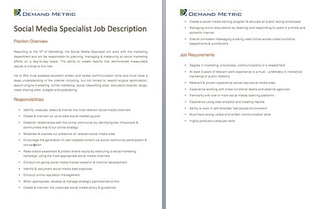 Social Media Specialist Job Description - A template to quickly - social media job description