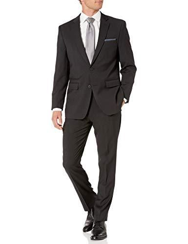 Perry Ellis Men's Two Piece Finished Bottom Slim Fit Suit - 42 Tall / Black Dobby