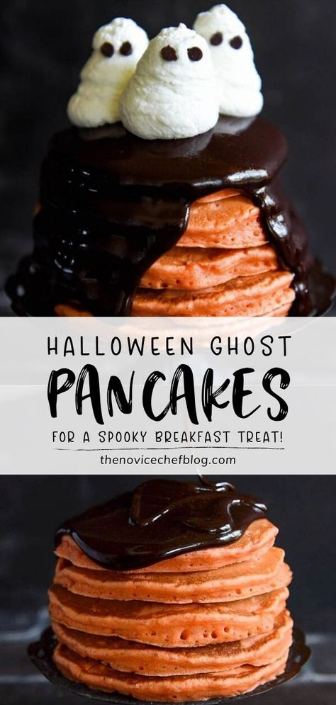 Are you ready for a spooky Halloween treat? These Halloween Ghost Pancakes are perfect for breakfast. Your kids are going to be thrilled about this big stack of homemade orange pancakes topped with an easy dark chocolate ganache and whipped cream ghosts! Save this pin!