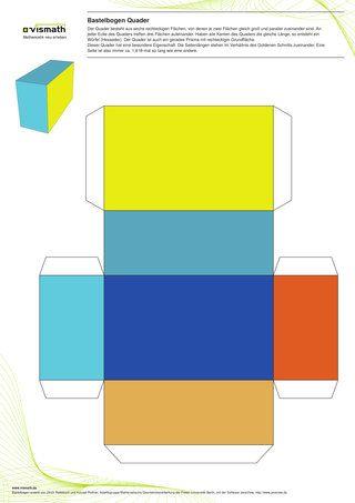 Bastelbogen Quader Pappschachtel Vorlage Papier Falttechniken Bastelarbeiten Aus Papier Und Pappe