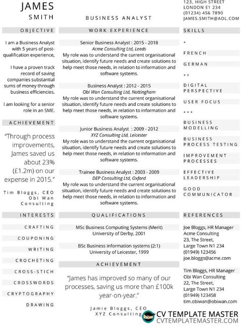 Three-column one-page CV template - CV Template Master CV Template