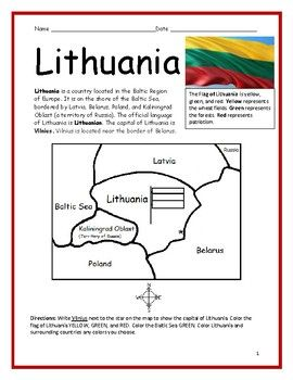 Lithuania Printable Handout With Map And Flag Geography