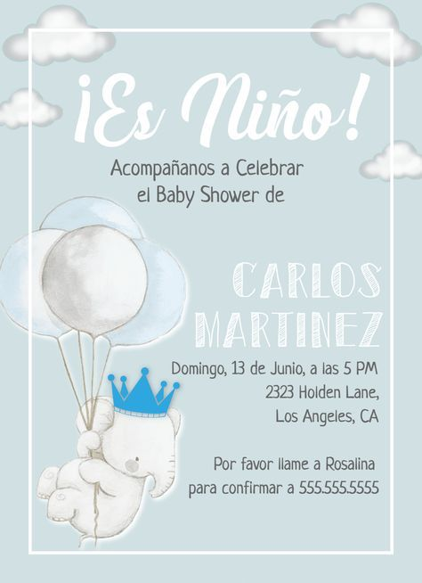 Es Niño Invitación Baby Shower Invite Template King Crown