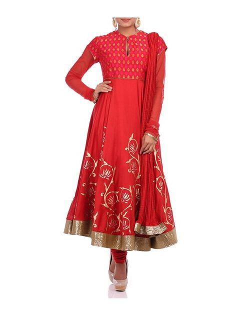 Red Cotton Silk Anarkali Suit Set