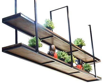 レトロ天井タイプフラワースタンドソリッドウッド アイアン壁掛け壁棚