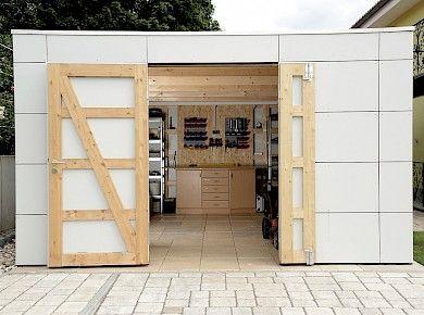 Gerateschuppen Mit Hpl Fassadentafeln Gartenhaus Gartenhaus Bauen Design Gartenhaus