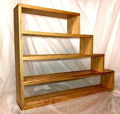 Vtg 5 Tier Bamboo Miniature Wall Shelf Spice Rack Storage Stair Step Double Lip Ebay In 2020 Spice Rack Storage Wall Shelves Stair Storage