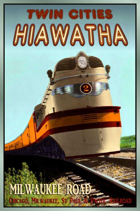 Hiawatha Mississippi United States Vintage Railroad Travel Advertisement Poster