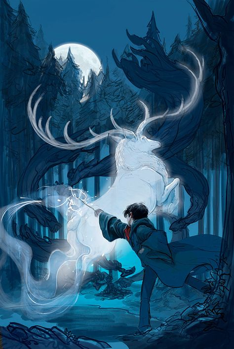 Harry's face and upper body is painted, and the beginnings of his Patronus-casting spell are sketched out