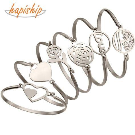 f55f5da4391f camcorners.com Hapiship Silver Color Stainless Steel Heart Round Love  Bangle Bracelet For Women Men Jewelry Gift Pulseras Mujer Brazaletes BX14   charm ...