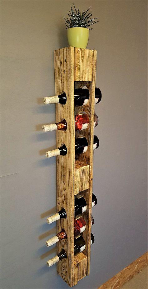 Wine rack Vintage bottle shelf flamed wall shelf shelf shelving pallet rack Palettenmöbel Bar Shelves shabby - Weinregal vintage Flaschenregal geflammt Weinflaschenregal You are in the right place about home diy -