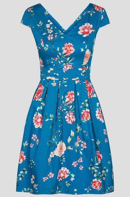 Rozkloszowana Sukienka W Kwiaty Niebieski Pretty Dresses Dresses Mini Dress