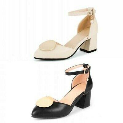 Women Block Heels Pointy Toe Ankle Strap Mid Heels Slingbacks Sandals Shoes B